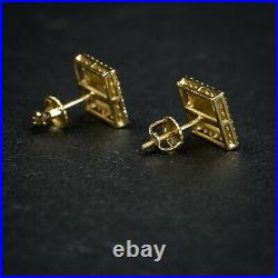Mens Square Yellow Gold Sterling Silver Iced Nugget Hip Hop Screw Back Earrings
