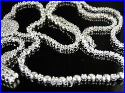 Mens White Gold Finish Rosary Diamond Chain Necklace 3C