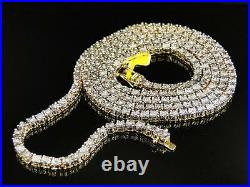 Mens Yellow Gold Finish Genuine Diamond 1 Row Necklace Chain 3.5 MM 24 Inches