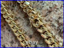 Miami Cuban Link Bracelet Solid 925 Sterling Silver 14k Gold Box Clasp 4-10mm