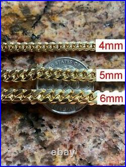 Miami Cuban Link Chain Or Bracelet 14k Gold Over Solid 925 Silver Box Lock ITALY