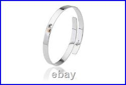 NEW Official Welsh Clogau Silver & Rose Gold Cariad Bach Bangle £79 OFF
