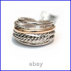 New DAVID YURMAN Crossover Narrow Ring in 14K Gold and Silver Size 7.5
