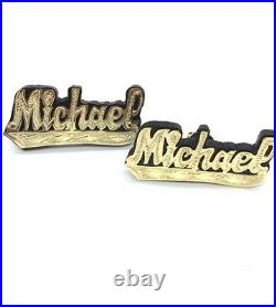 PERSONALIZED 14Kt GOLD OVER STERLING SILVER COLOR BACKGROUND NAME EARRINGS