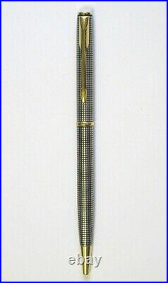 Parker Sterling Silver Cisele Ballpoint Pen & Gold Tr New In Box Made In France