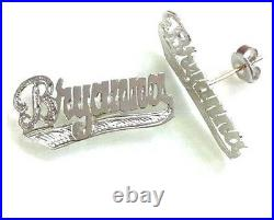 Personalized Sterling Silver Single Plate Stud Name Earrings