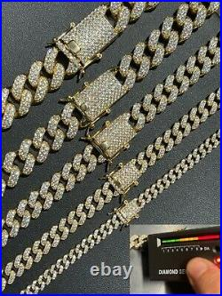 Real Miami Cuban Link Chain Iced MOISSANITE 14k Gold & Solid 925 Silver Necklace