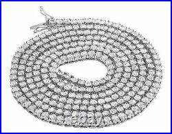 Real White Gold Finish 1 Row Diamond Chain Necklace 3.5MM 24 ins 1.75 Ct