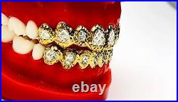 SOLID SILVER With 18K YELLOW GOLD TWO TONE PLATED PRINCESS DUST CUT GRILL GRILLZ