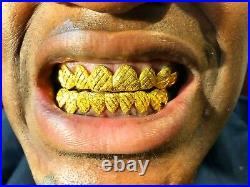 STERLING SILVER With 18K YELLOW GOLD PLATED DIAMOND CUT+DIAMOND DUST GRILL GRILLZ