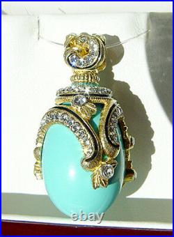 Sale! Beautiful Sterling Silver 24k Gold Genuine Turquoise Russian Egg Pendant