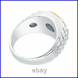 Silver & 14Kt Yellow Gold Fluted Bezel 1/4 CTW Diamond Men's Rlx Style Ring