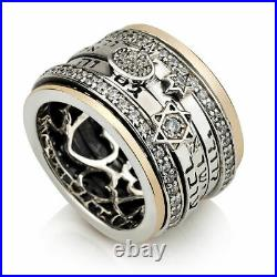 Silver 925 With 9K GOLD Spinning Thick Ring With 3 Jewish Judaica Kabbalah Verbs