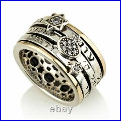 Silver 925 With 9K Gold Thick Judaica Ring With 3 Spinning Jewish Kabbalah Verbs