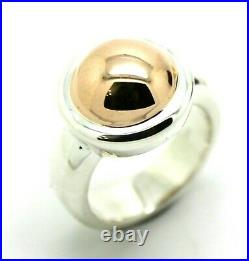 Size J New Genuine Sterling Silver & 9ct Rose Gold 375 Half Ball Ring