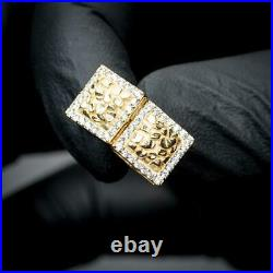 Small Mens 3D Iced Square 14K Gold Nugget CZ Stud Hip Hop Screw back Earrings