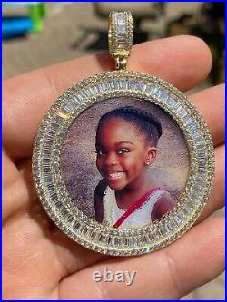 Solid 925 Silver Custom HipHop Photo Pendant Iced Memory Medallion Gold Baguette
