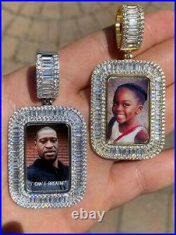Solid 925 Silver Custom Hip Hop Memory Photo Pendant Dog Tag Iced Medallion Gold