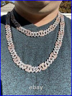 Solid 925 Silver & Rose Gold Mens Figarucci Gucci Link Prong Cuban Chain Hip Hop