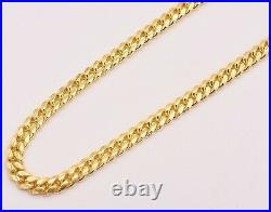 Solid Miami Cuban Curb Link Chain Necklace 14K Yellow Gold Clad Silver 925 6mm