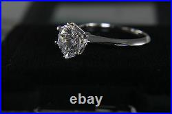 Solitaire One Moissanite Engagement Ring 2ct 14k White Gold Round Cut Size 8