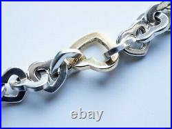 Tiffany sterling silver and yellow gold open heart bracelet
