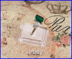 Vintage Jewellery Silver Gold Ring Emerald White Sapphires Antique Deco Jewelry
