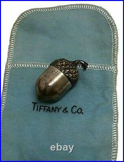 Vintage Tiffany & Co Sterling Silver & Gold Acorn Pill Box Case withPouch